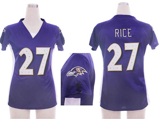 Women  Nfl Baltimore Ravens #27 Sheldon Price Purple Draft Him Ii Top Jersey