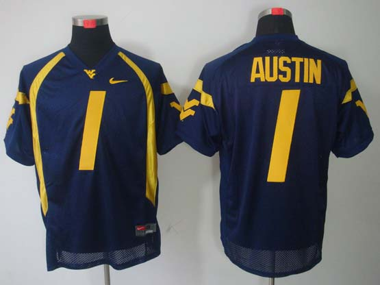 Mens Ncaa Virginia Mountaineers #1 Austin Blue Jersey