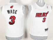 Women  Nba Miami Heat #3 Wade White Jersey