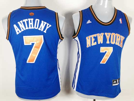 women  nba New York Knicks #7 Carmelo Anthony blue jersey