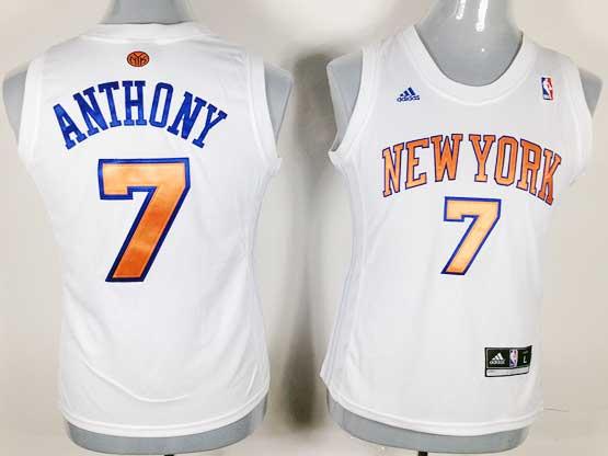 women  nba New York Knicks #7 Carmelo Anthony white jersey