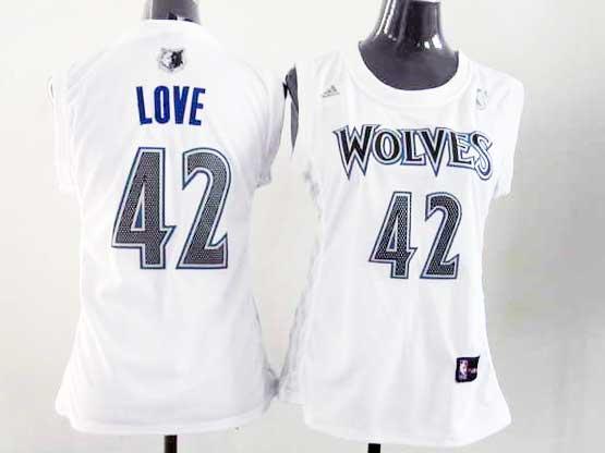 Women  Nba Minnesota Timberwolves #42 Love White Jersey
