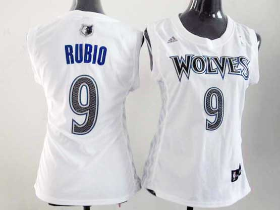 Women  Nba Minnesota Timberwolves #9 Rubio White Jersey