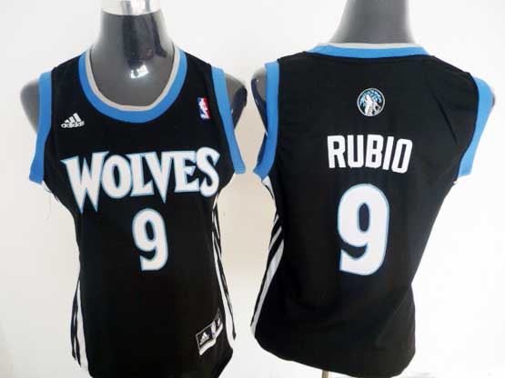 Women  Nba Minnesota Timberwolves #9 Rubio Black Jersey