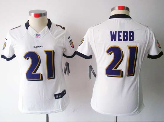 Women  Nfl Baltimore Ravens #21 Lardarius Webb White Limited Jersey