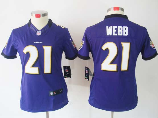 Women  Nfl Baltimore Ravens #21 Lardarius Webb Purple Limited Jersey