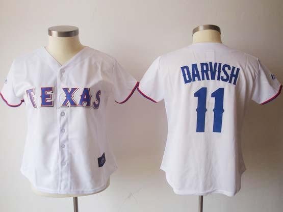 Women  Mlb Texas Rangers #11 Darvish White Jersey