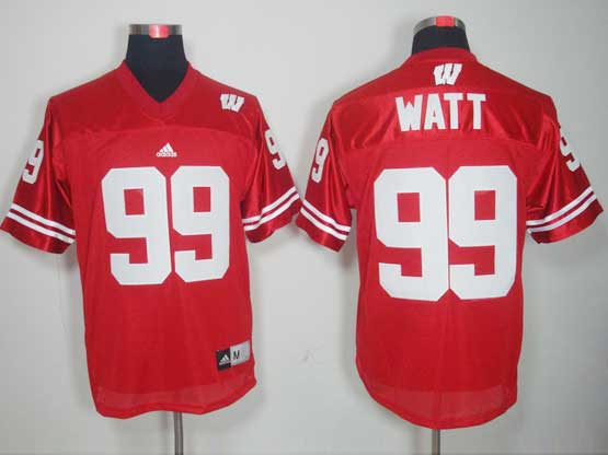Mens Ncaa Nfl Wisconsin Badgers #99 Watt Red Jersey