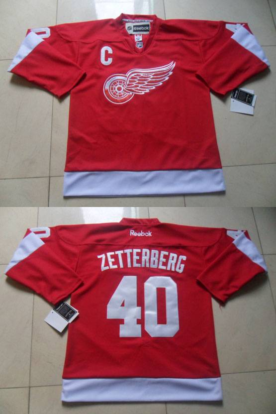 Mens reebok nhl detroit red wings #40 zetterberg red with c patch Jersey