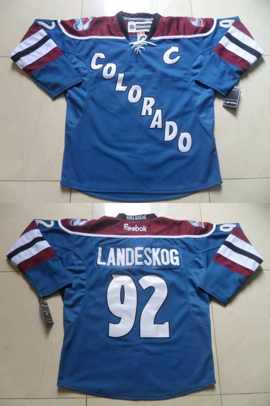 Mens reebok nhl colorado avalanche #92 landeskog blue with c Jersey