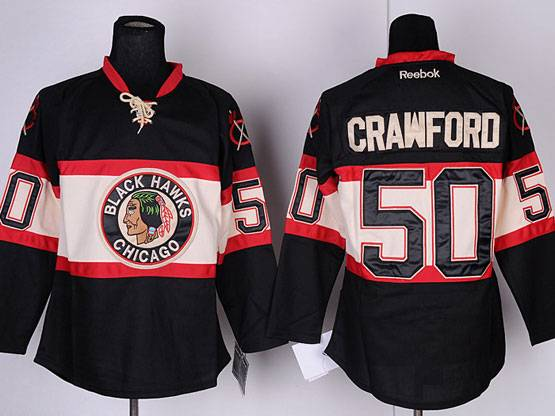 Mens reebok nhl chicago blackhawks #50 crawford black (new third) Jersey