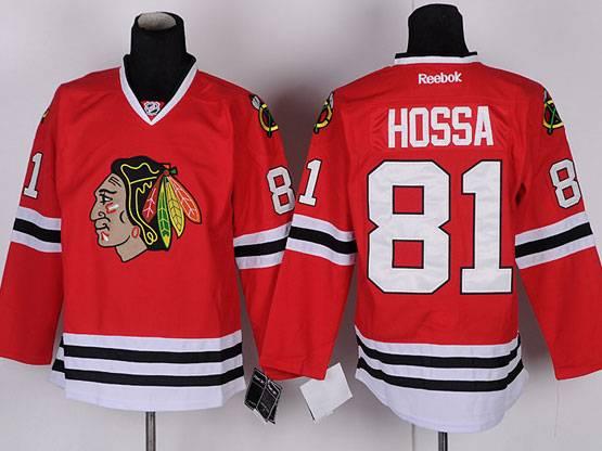Mens reebok nhl chicago blackhawks #81 hossa red Jersey