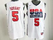 Mens Nba 2012 Usa Team #5 Durant White Retro Embroidered Jersey(m)