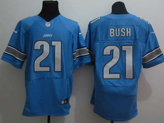 Mens Nfl Detroit Lions #21 Bush Blue Elite Jersey