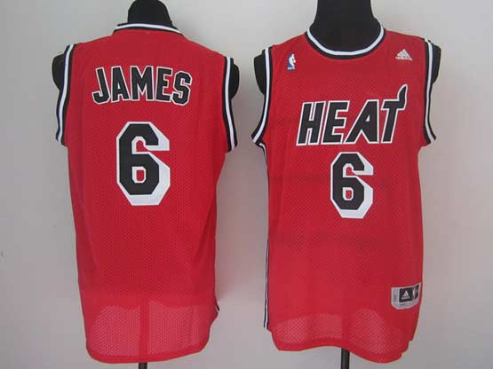 Mens Nba Miami Heat #6 James Red Black Number Jersey(m)