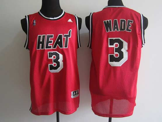 Mens Nba Miami Heat #3 Wade Red Black Number Jersey(m)