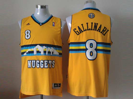 Mens Nba Denver Nuggets #8 Gallinari Yellow (new Style) Jersey(p)