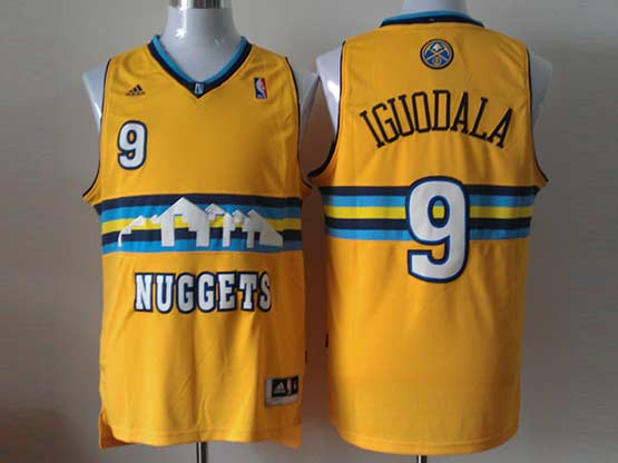 Mens Nba Denver Nuggets #9 Lguodala Yellow (new Style) Jersey(p)
