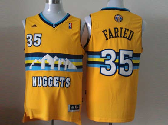 Mens Nba Denver Nuggets #35 Faried Yellow (new Style) Jersey(p)