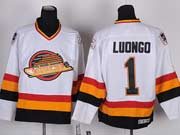 Mens nhl vancouver canucks #1 luongo white vintage throwbacks Jersey
