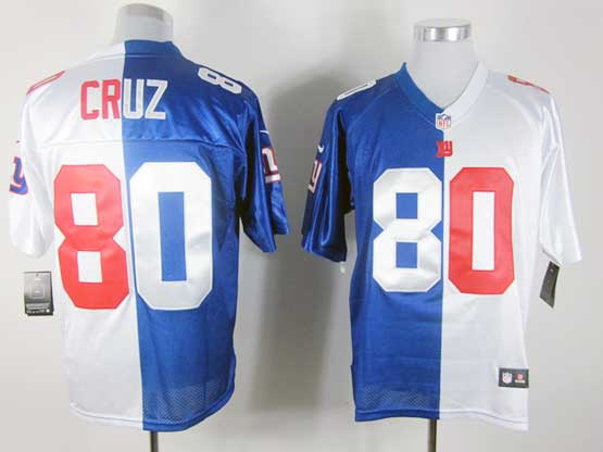 mens nfl New York Giants #80 Victor Cruz white&blue split elite jersey