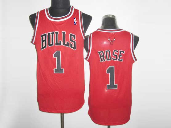 Mens Adidas Chicago Bulls #1 Derrick Rose Red Player Swingman Road Jersey