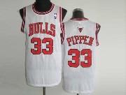Mens NBA Chicago Bulls #33 PIPPEN WHITE Revolution 30 MESH JERSEY