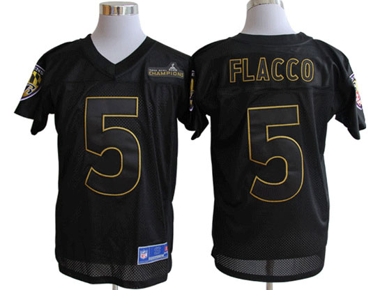 Mens Nfl Baltimore Ravens #5 Joe Flacco Black Superbowl Xlvii Champions Jersey