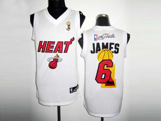 Mens Nba Miami Heat #6 James White Finals (red Number) Revolution 30 Mesh Jersey