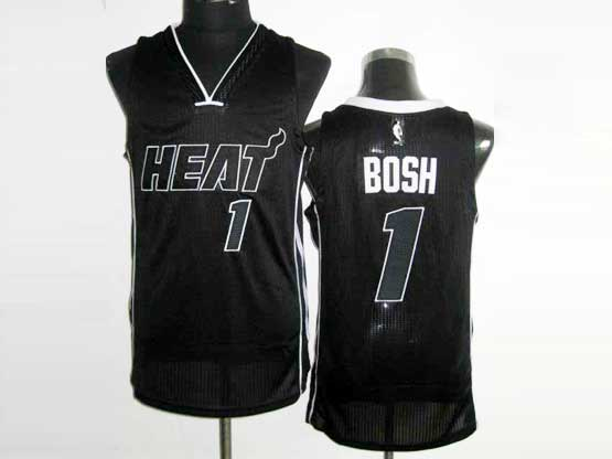 Mens Nba Miami Heat #1 Bosh Black&black Number Revolution 30 Mesh Jersey