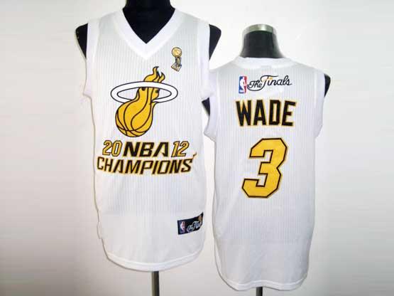 Mens Nba Miami Heat #3 Wade White Champions (yellow Number) Revolution 30 Mesh Jersey
