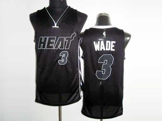 Mens Nba Miami Heat #3 Wade Black&black Number Revolution 30 Mesh Jersey