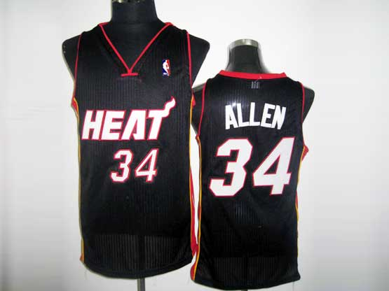 Mens Nba Miami Heat #34 Allen Black&white Number Revolution 30 Mesh Jersey
