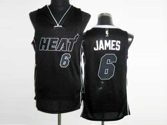 Mens Nba Miami Heat #6 James Black&black Number Revolution 30 Mesh Jersey