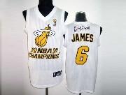 Mens Nba Miami Heat #6 James White Champions (yellow Number) Revolution 30 Mesh Jersey