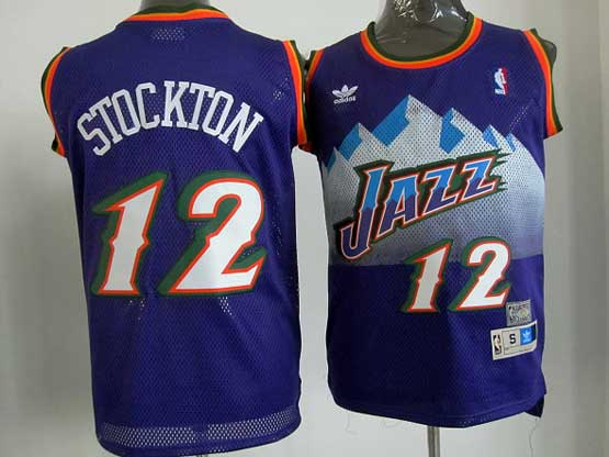 Mens Nba Utah Jazz #12 Stockton Purple Snowberg Hardwood Throwback Jersesy