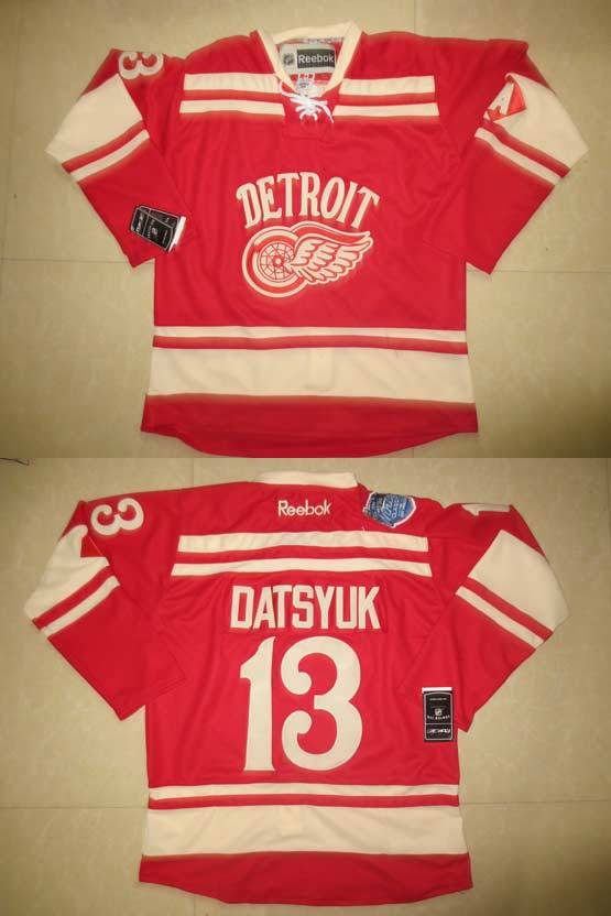 mens reebok nhl Detroit Red Wings #13 Pavel Datsyuk red with a (2014 winter classic) jersey