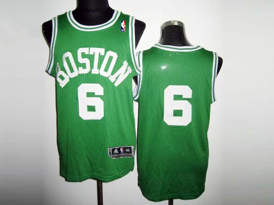 Mens Nba Boston Celtics #6 Russell Green&white Number Revolution 30 Mesh Jersey