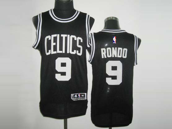 Mens Nba Boston Celtics #9 Rondo Black&white Number Revolution 30 Mesh Jersey