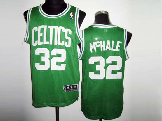 Mens Nba Boston Celtics #32 Mchale Green&white Number Revolution 30 Mesh Jersey