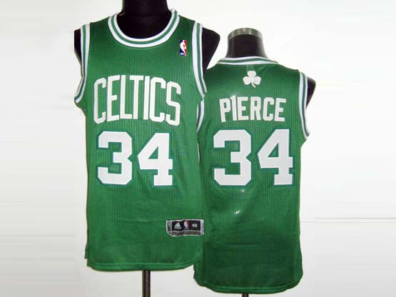 Mens Nba Boston Celtics #34 Pierce Green&white Number Revolution 30 Mesh Jersey