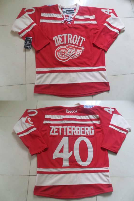 Mens reebok nhl detroit red wings #40 zetterberg red with c (2014 winter classic) Jersey