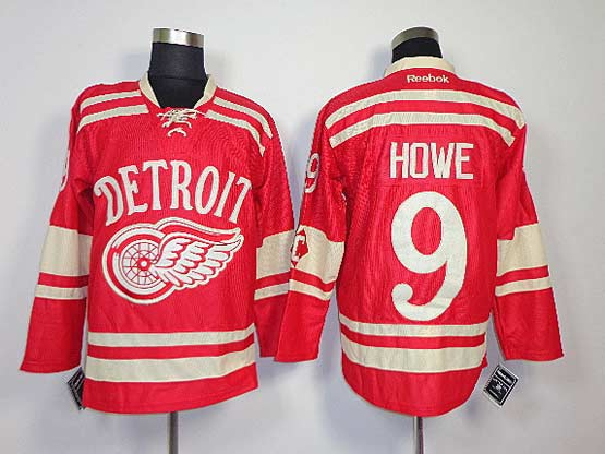 Mens reebok nhl detroit red wings #9 howe red (2014 winter classic) Jersey