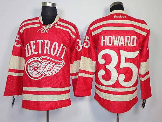 Mens reebok nhl detroit red wings #35 howard red (2014 winter classic) Jersey