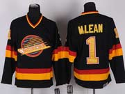 Mens nhl vancouver canucks #1 m.lean black vintage throwbacks Jersey