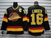 Mens nhl vancouver canucks #16 linden black with c throwbacks Jersey