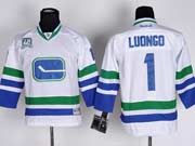 youth reebok nhl vancouver canucks #1 luongo white 3rd Jersey