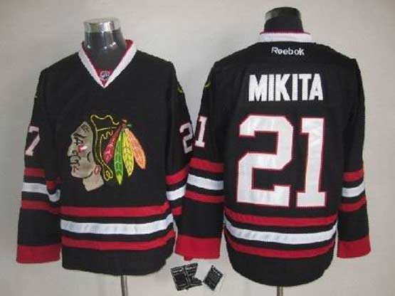 Mens reebok nhl chicago blackhawks #21 mikita full black Jersey
