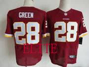 Mens Nfl Washington Redskins #28 Green Red Elite Jersey