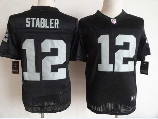 Mens Nfl Oakland Raiders #12 Stabler Black Elite Jersey